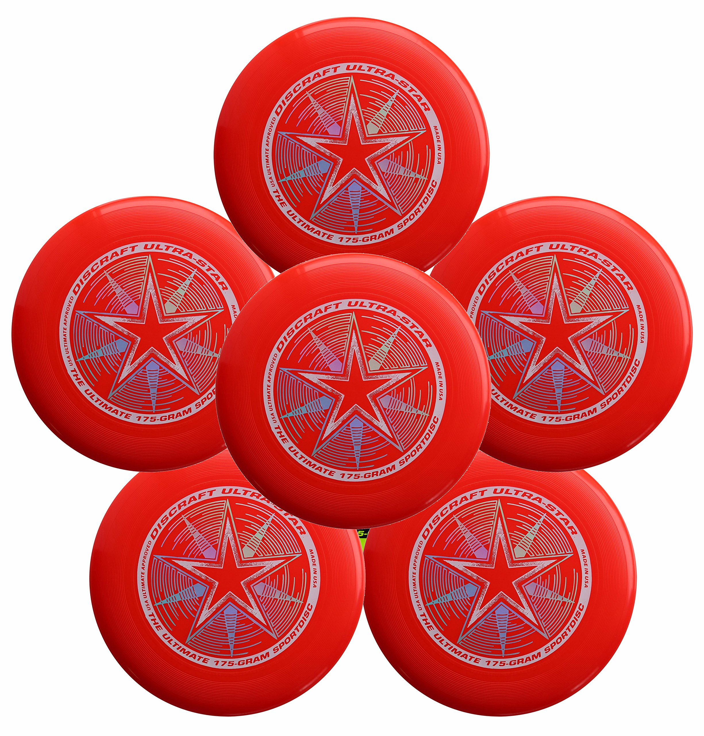 Discraft Ultra-Star 175g Ultimate Frisbee Sport Disc (6 Pack) Bright Red