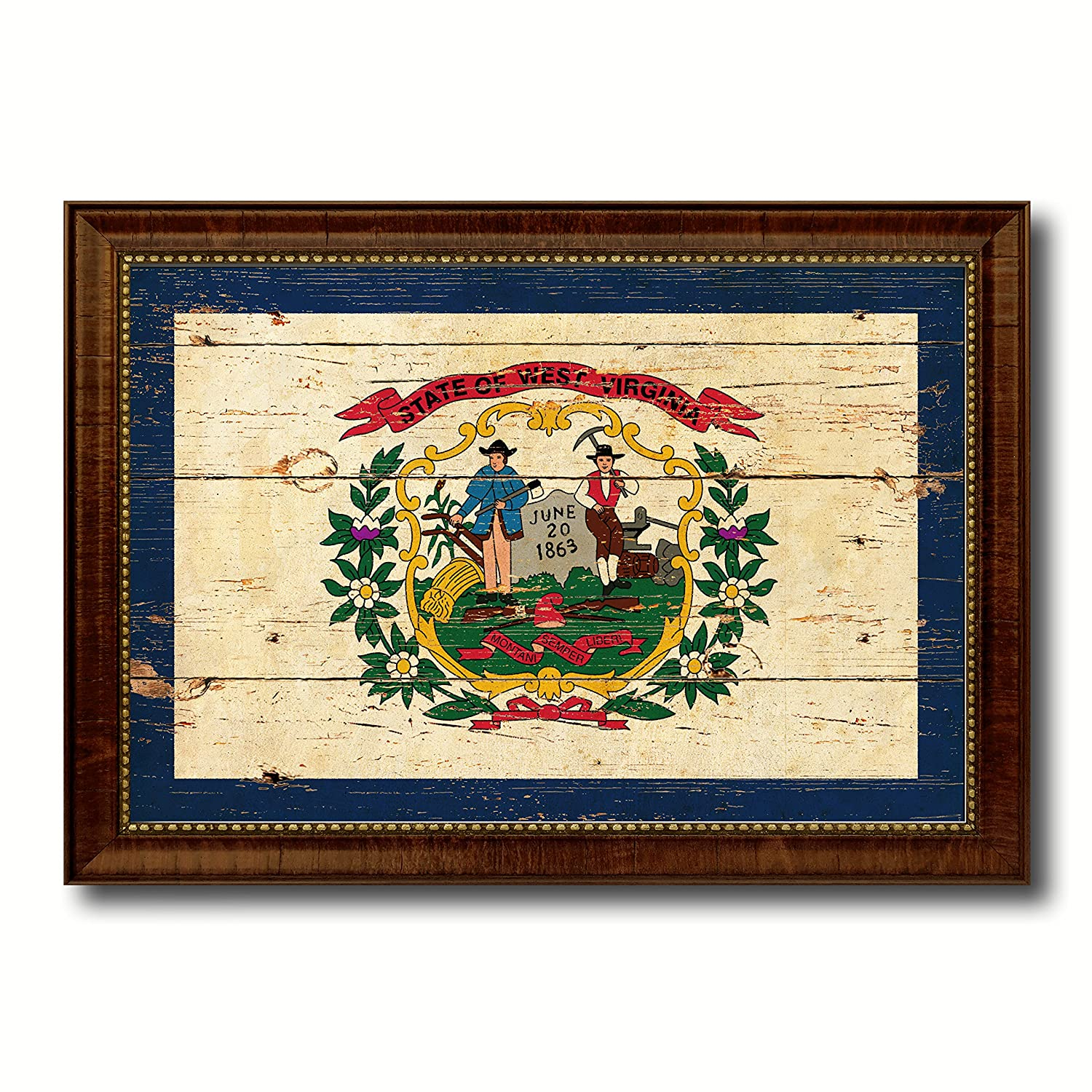 Amazon.com: West Virginia State Flag Vintage Canvas Print, Picture ...