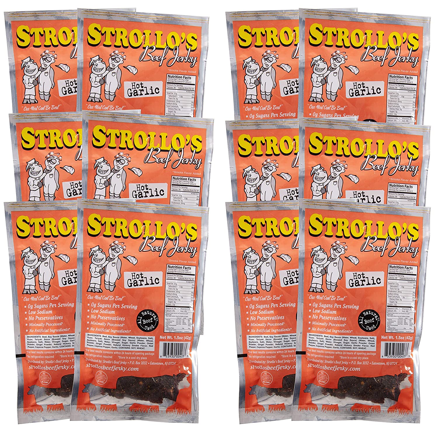 Strollo's Beef Jerky Hot Garlic Flavor 1 Pack - Low Sodium, Low Sugar, Low Carb - Made with All Natural USA Beef, USDA Certified