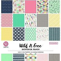 """ColorBok - Bloc de Papel de diseño, Wild & Free, 12"""" x 12"""", 1, 1"""