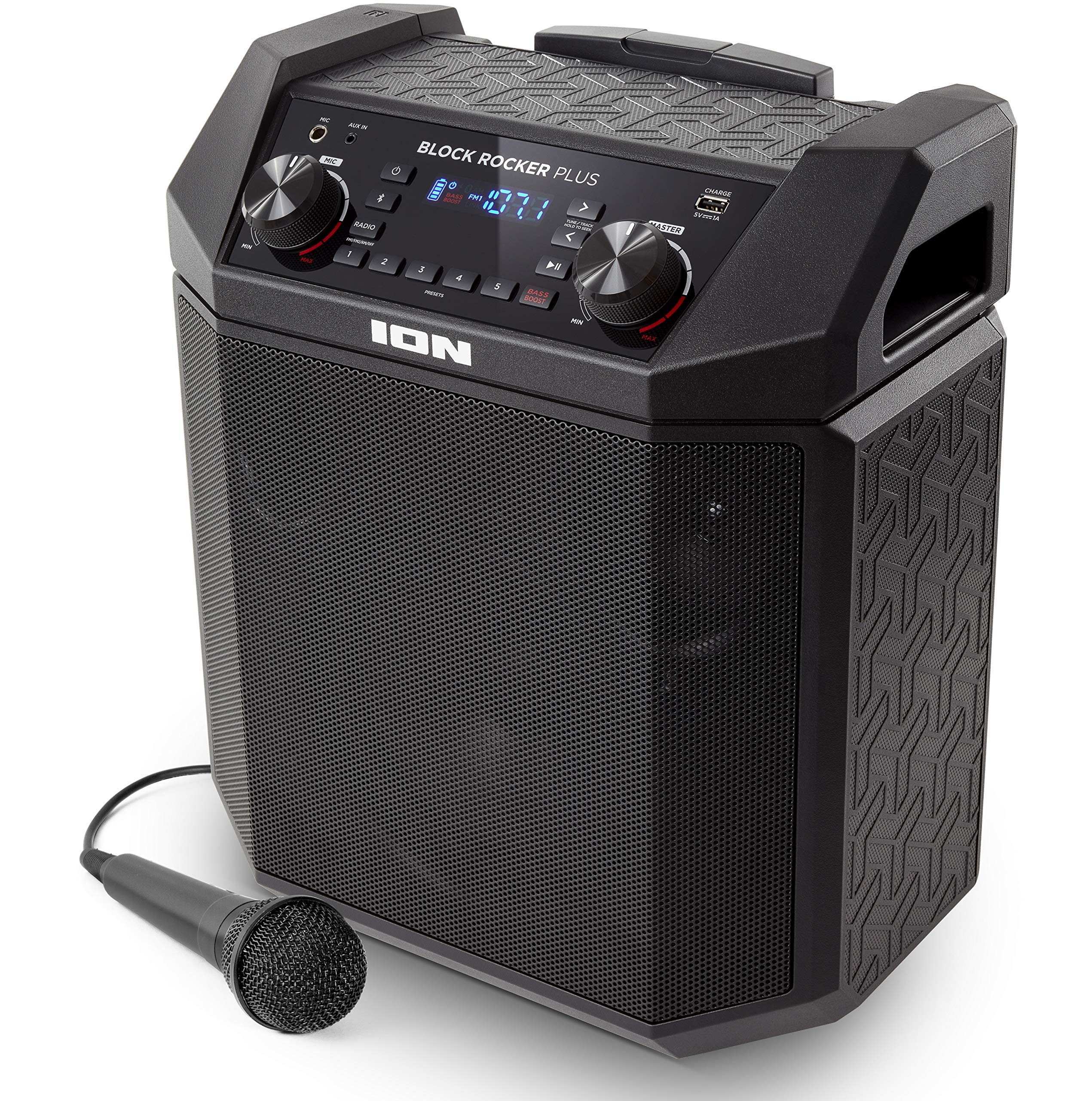 Ion Audio Block Rocker Plus, 100W Portable Speaker, Battery Powered with Bluetooth Connectivity, Microphone and Cable, AM/FM Radio, Wheels and Telescopic Handle and USB Charging (Renewed) by ION Audio