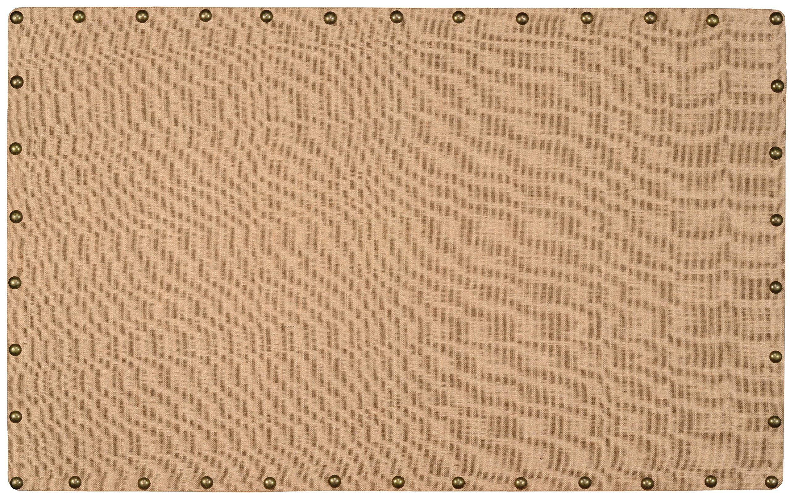 Linon Burlap Nailhead Corkboard, Large
