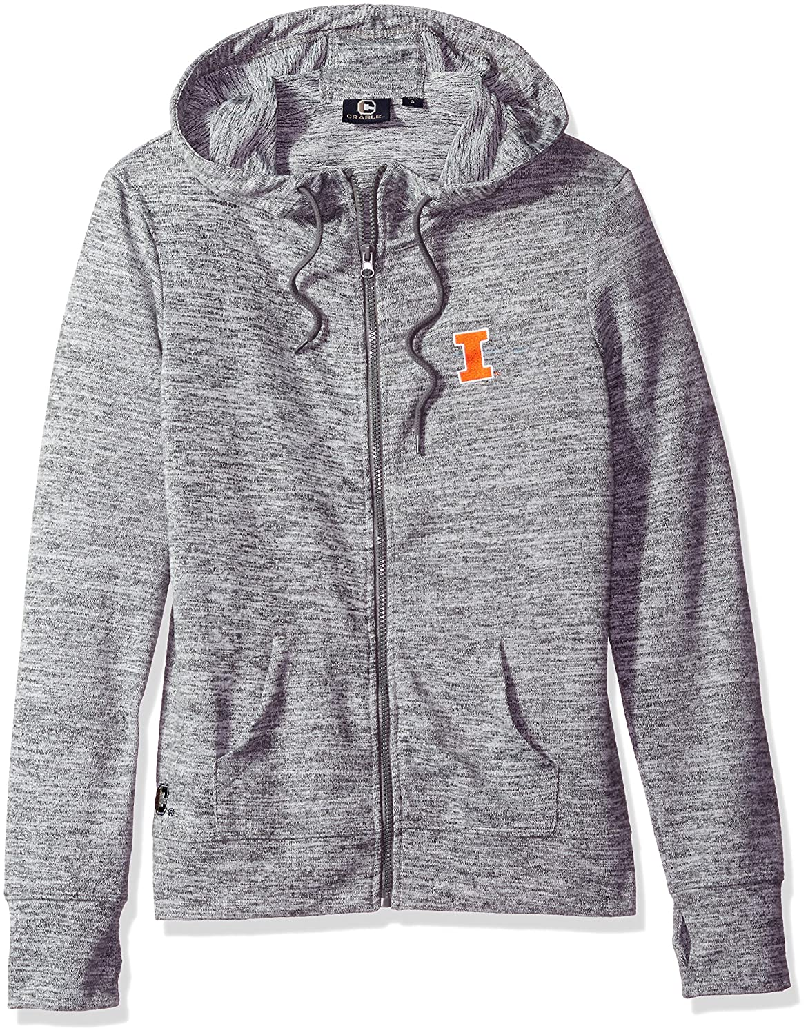 Crable NCAA Womens Zip Front Drawstring Hoodie