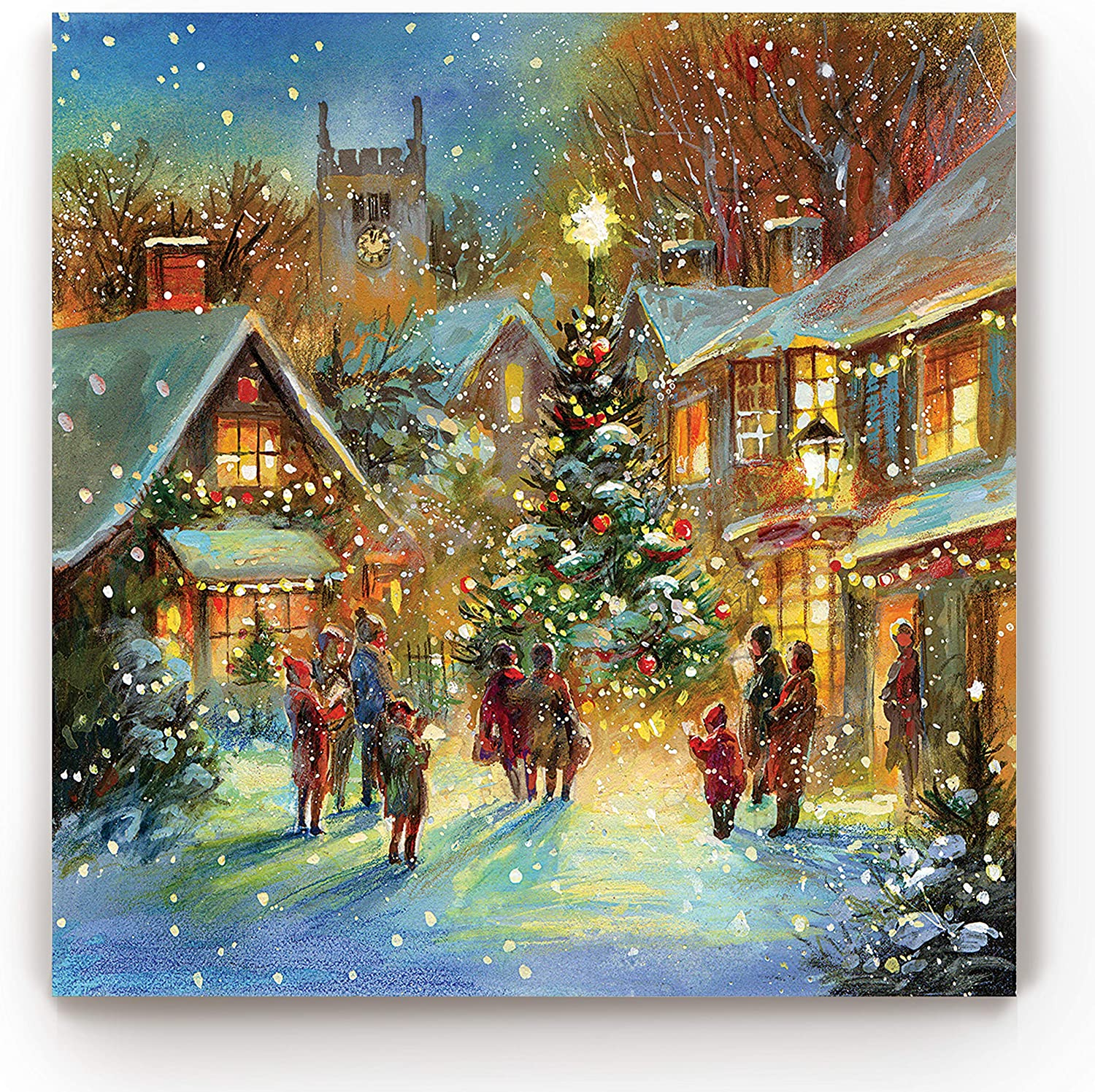 Renditions Gallery Evening Carol by Jim Mitchell Wall Art, Christmas Decor, Idyllic Winter Town, Vibrant Colors, Premium Gallery Wrapped Canvas, Ready to Hang, 40 in H x 40 in W, Made in America
