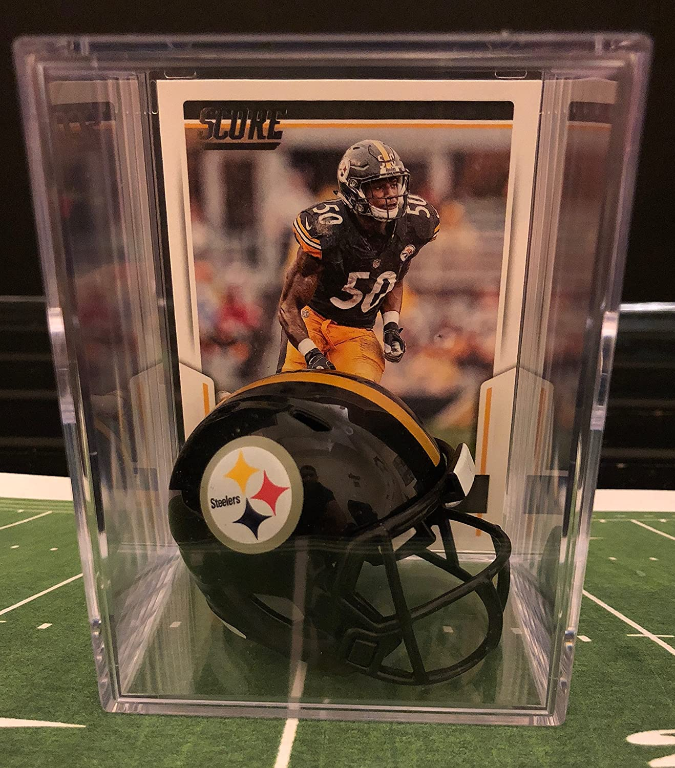 Pittsburgh Steelers NFL Helmet Shadowbox w/ Ryan Shazier card Riddell