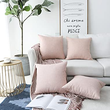 HOME BRILLIANT Burlap Decoration Supersoft Linen Cushion Covers Square Throw Pillows Cover for Couch, Baby Pink, 45x45 cm, Set of 4