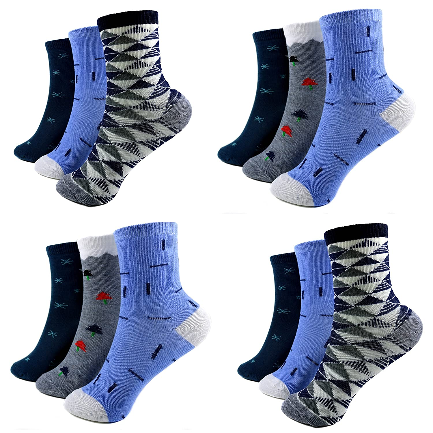 12 pairs Kids Boys Socks Children Stockings 85% Cotton Colorful size. 6-5 A. s-100 (Age 2 to 15)