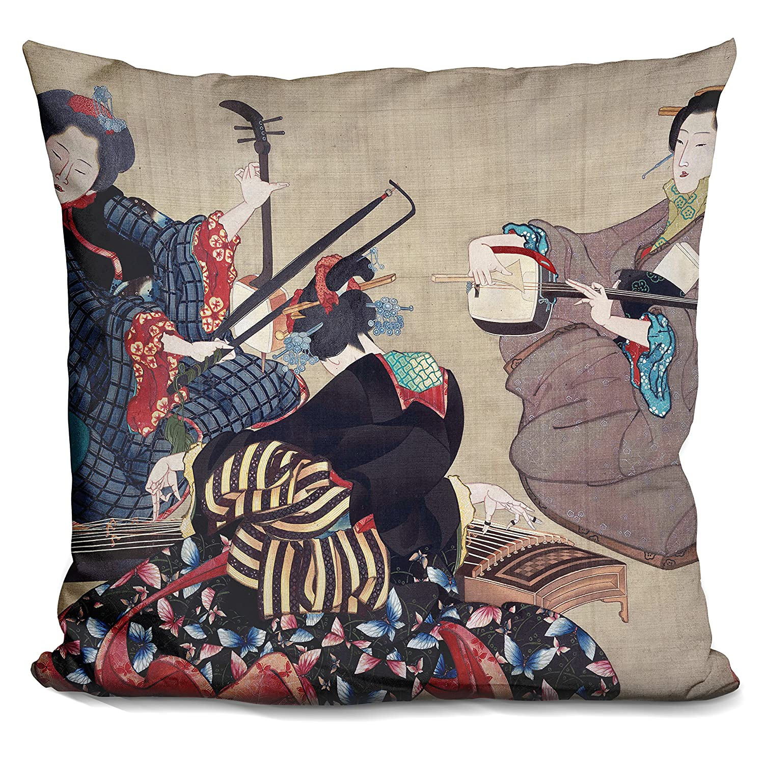 LiLiPiThree Women Playing Musical Decorative Accent Throw Pillow