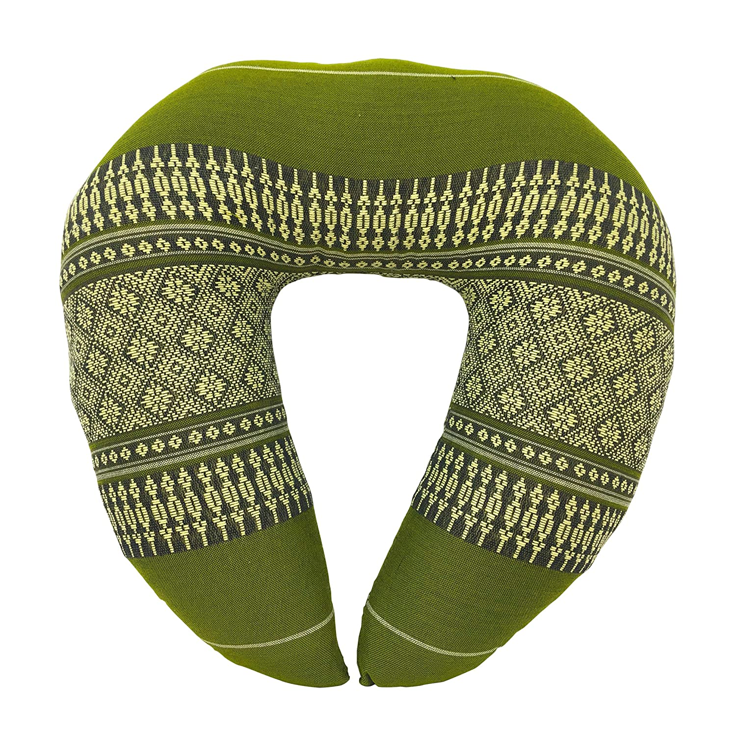 Laeto Home /& Living Kapok Firm Neck Cushion for Travel Green Massage or Comfort in Traditional Thai Fabric