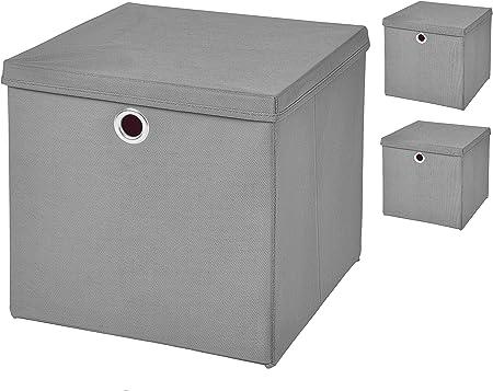 3 pieza gris claro – Caja plegable (32 x 32 x 32 cm caja plegable con tapa: Amazon.es: Hogar