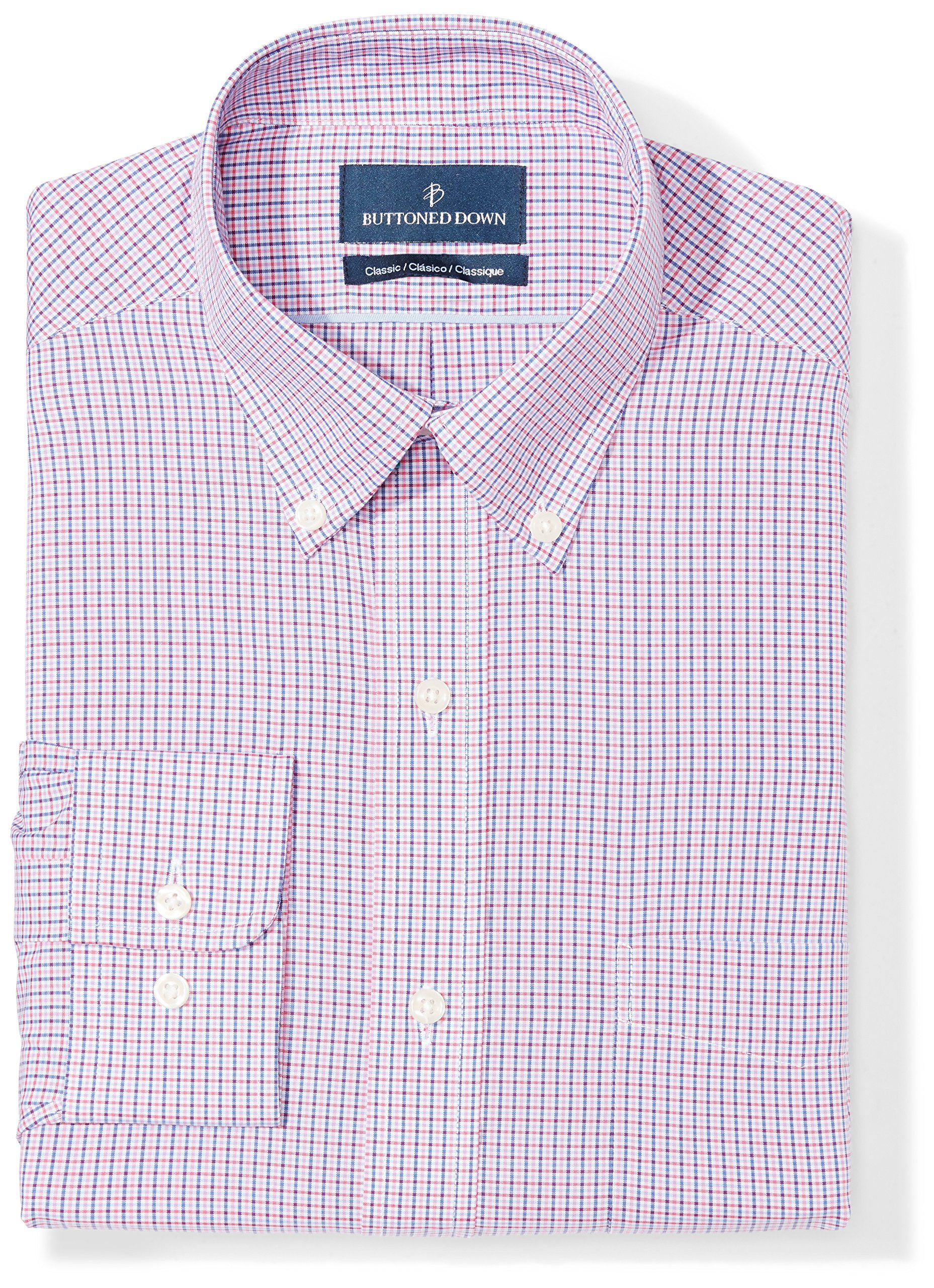 Buttoned Down Men's Classic Fit Button-Collar Pattern Non-Iron Dress Shirt, Berry/Red/Navy Tattersall Micro Check, 18'' Neck 35'' Sleeve (Big and Tall)