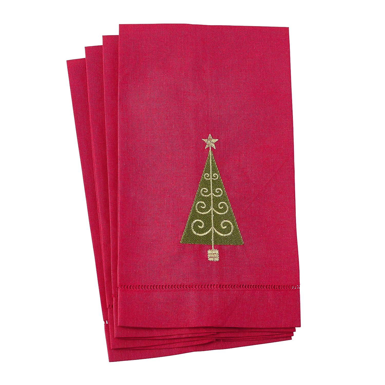 SARO Lifestyle lino y algodón invitados towel-set de 4, Rojo, 14 pulgadas x 22 pulgadas: Amazon.es: Hogar