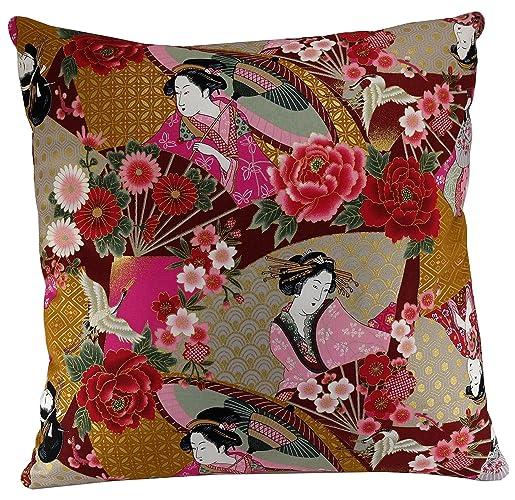 Geisha Cushion Cover 18x18 Oriental Rose Throw Pillow Cover