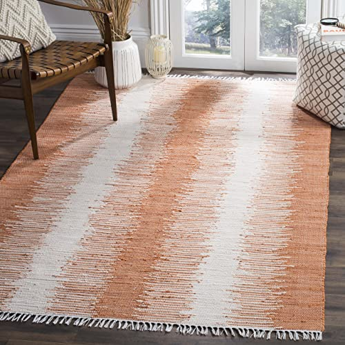 Safavieh Montauk Collection MTK751C Handmade Flatweave Orange Cotton Area Rug 3 x 5