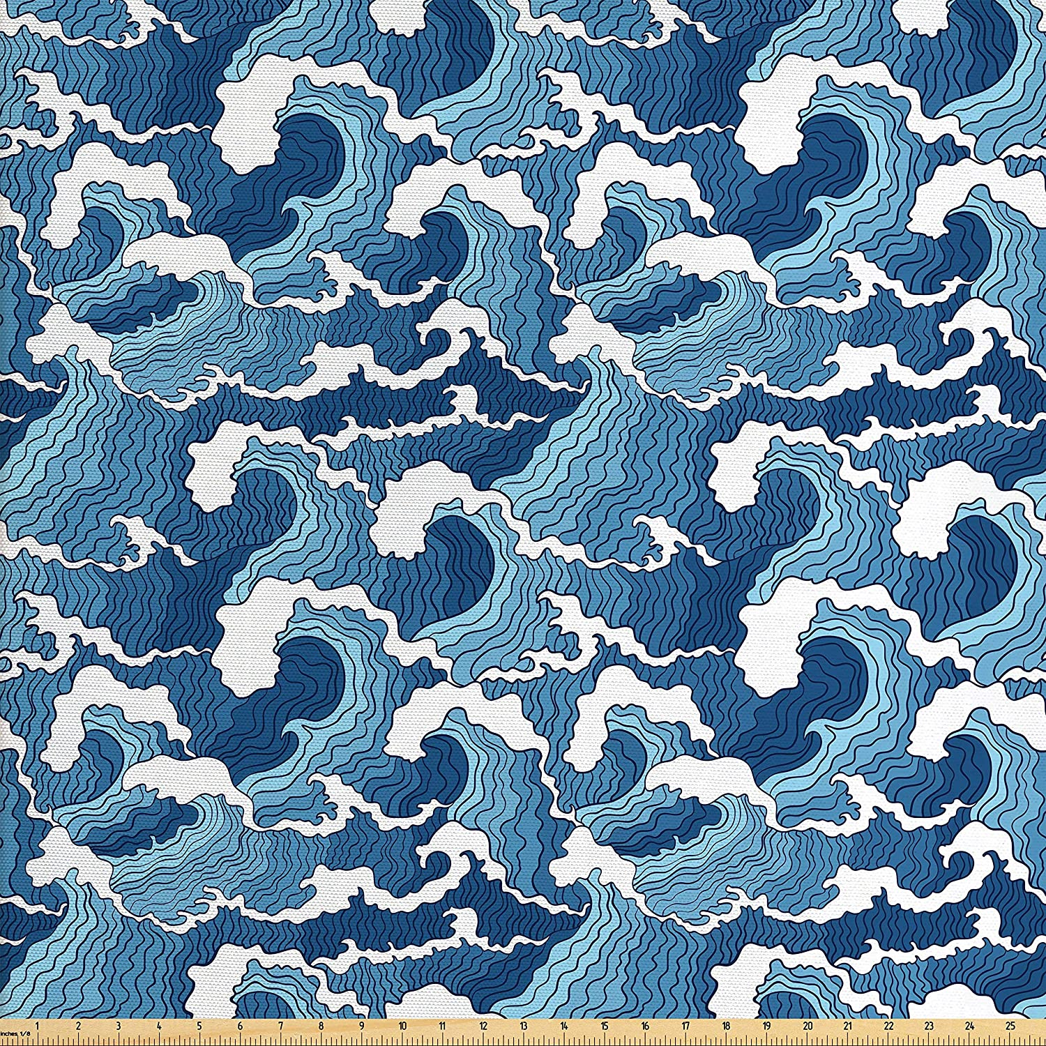 Lunarable Japanese Wave Fabric by The Yard, Stormy Sea with Abstract Chinese Folk Art Influences, Decorative Fabric for Upholstery and Home Accents, 1 Yard, Pale Blue