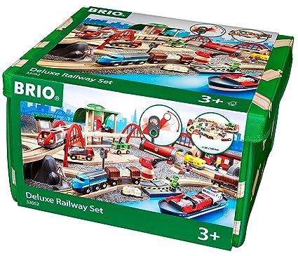 Amazon Com Brio Deluxe Railway Set Wooden Toy Train Set For Kids