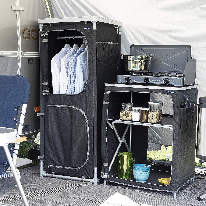 CAMPART Travel CU-0720 Camping Paris, Cuatro Compartimentos, También se Puede Usar Como Armario Ropero, 140 cm de altura, Gris