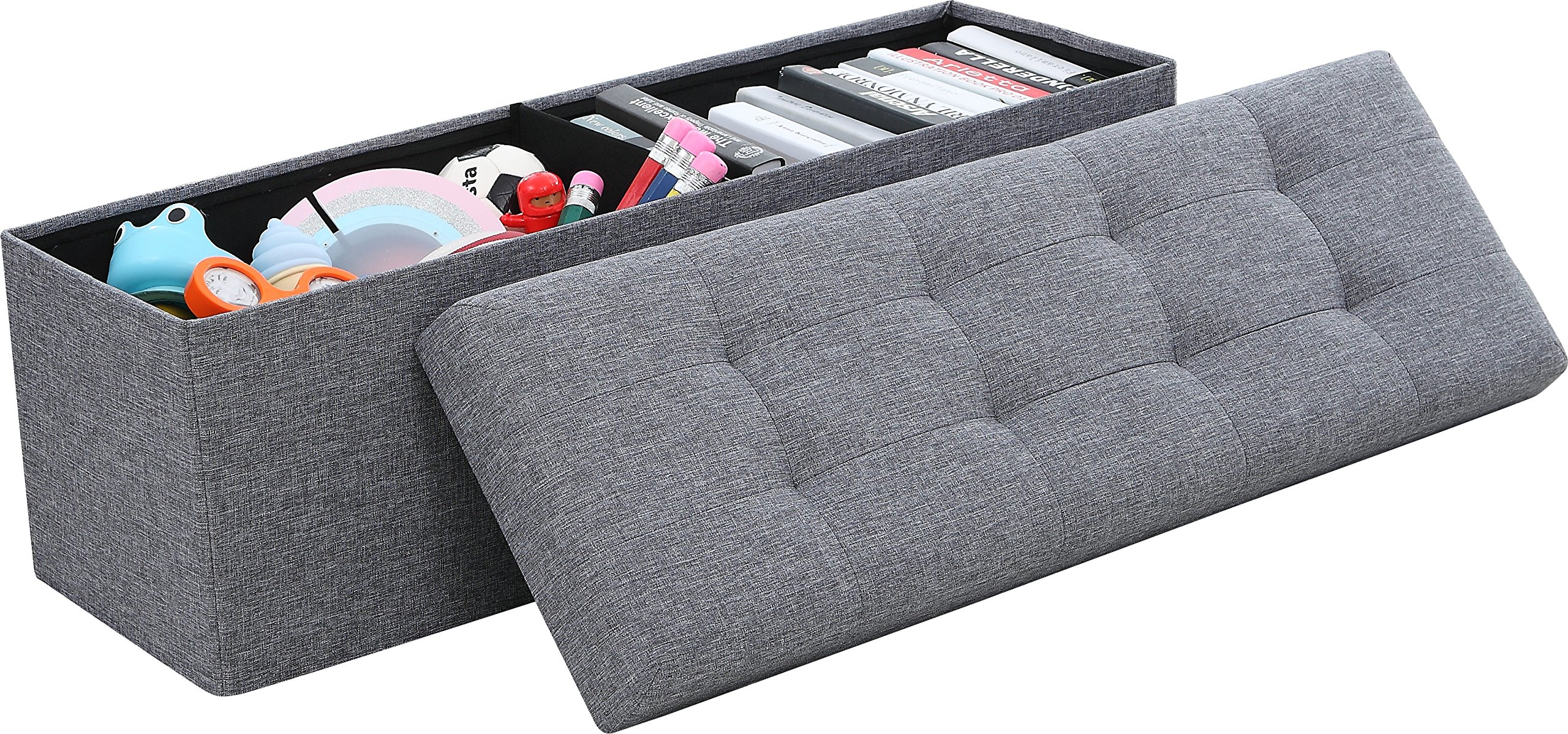 Ornavo Home Foldable Tufted Linen Large Storage Ottoman Bench Foot Rest Stool/Seat - 15'' x 45'' x 15'' (Grey) by Ornavo Home