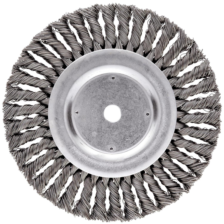 "Weiler Dualife Standard Wire Wheel Brush, Round Hole, Steel, Partial Twist Knotted, 8"" Diameter, 0.023"" Wire Diameter, 5/8"" Arbor, 1-5/8"" Bristle Length, 5/8"" Brush Face Width, 6000 rpm"