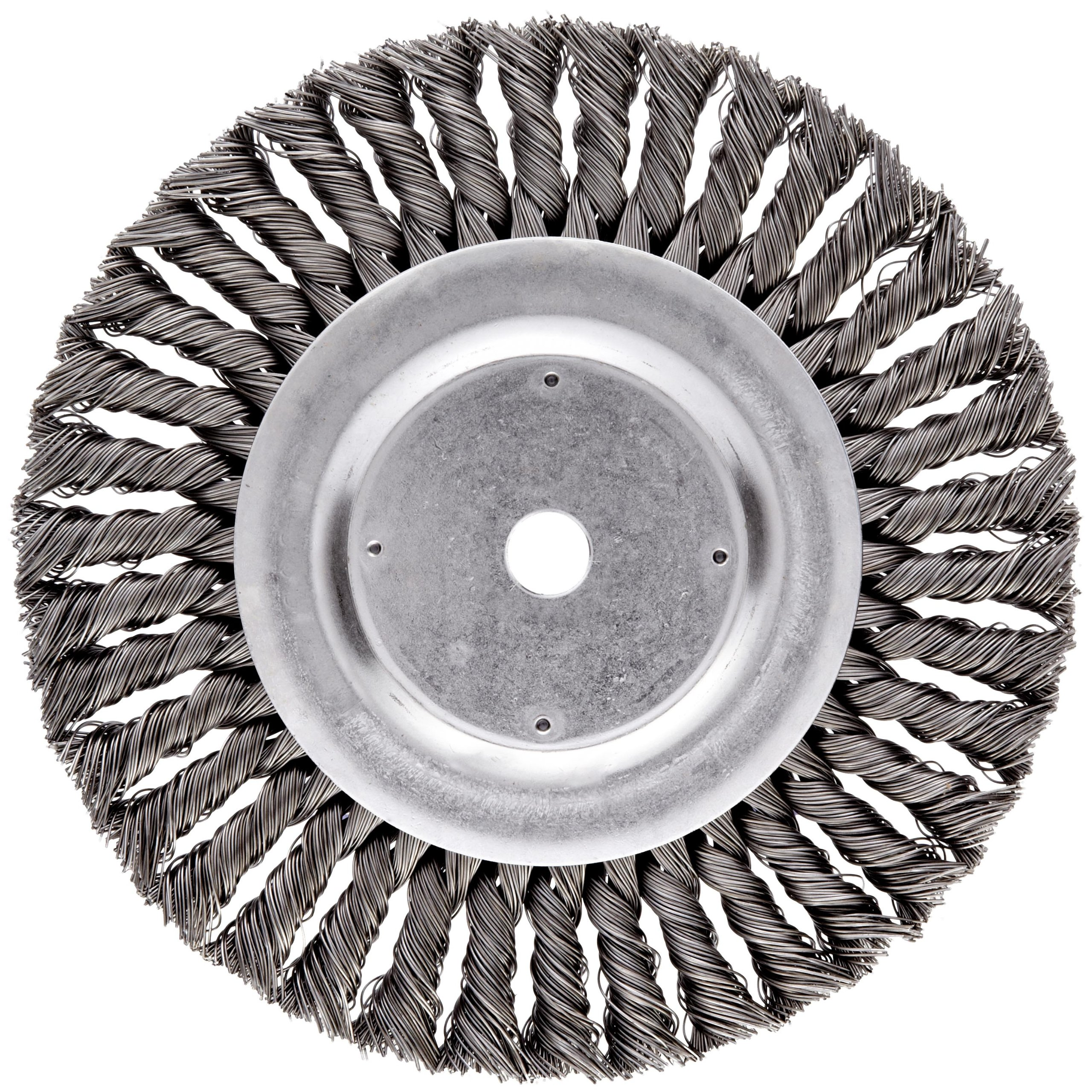 Weiler Dualife Standard Wire Wheel Brush, Round Hole, Steel, Partial Twist Knotted, 8'' Diameter, 0.023'' Wire Diameter, 5/8'' Arbor, 1-5/8'' Bristle Length, 5/8'' Brush Face Width, 6000 rpm by Weiler