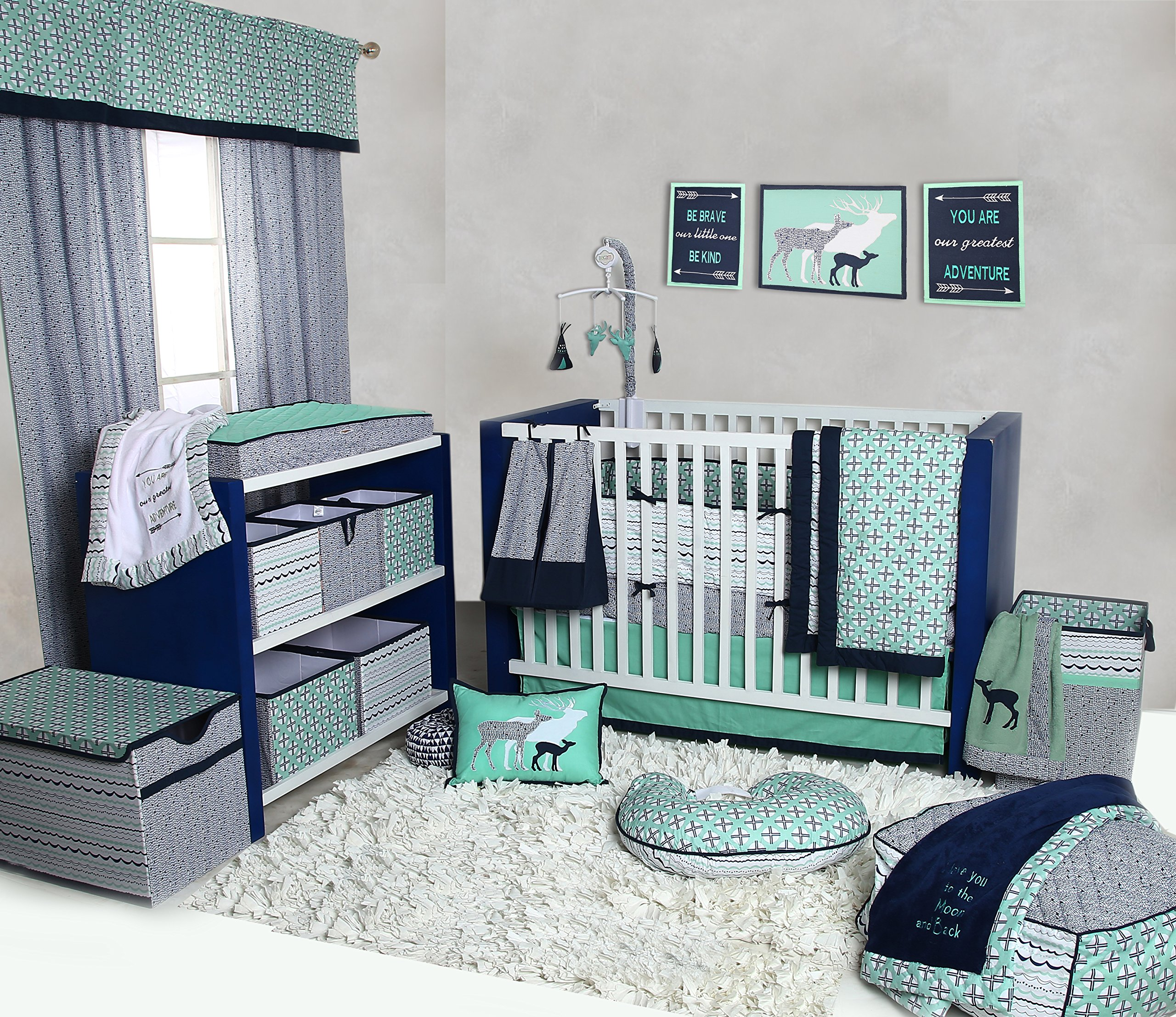 Bacati Noah Tribal 10 Piece Nursery-in-a-Bag Cotton Percale Crib Bedding Set with Bumper Pad, Mint/Navy by Bacati (Image #7)