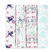 aden + anais Disney Classic Swaddle Baby Blanket, 100% Cotton Muslin, Large 47 X 47 inch, 4 Pack, Bambi