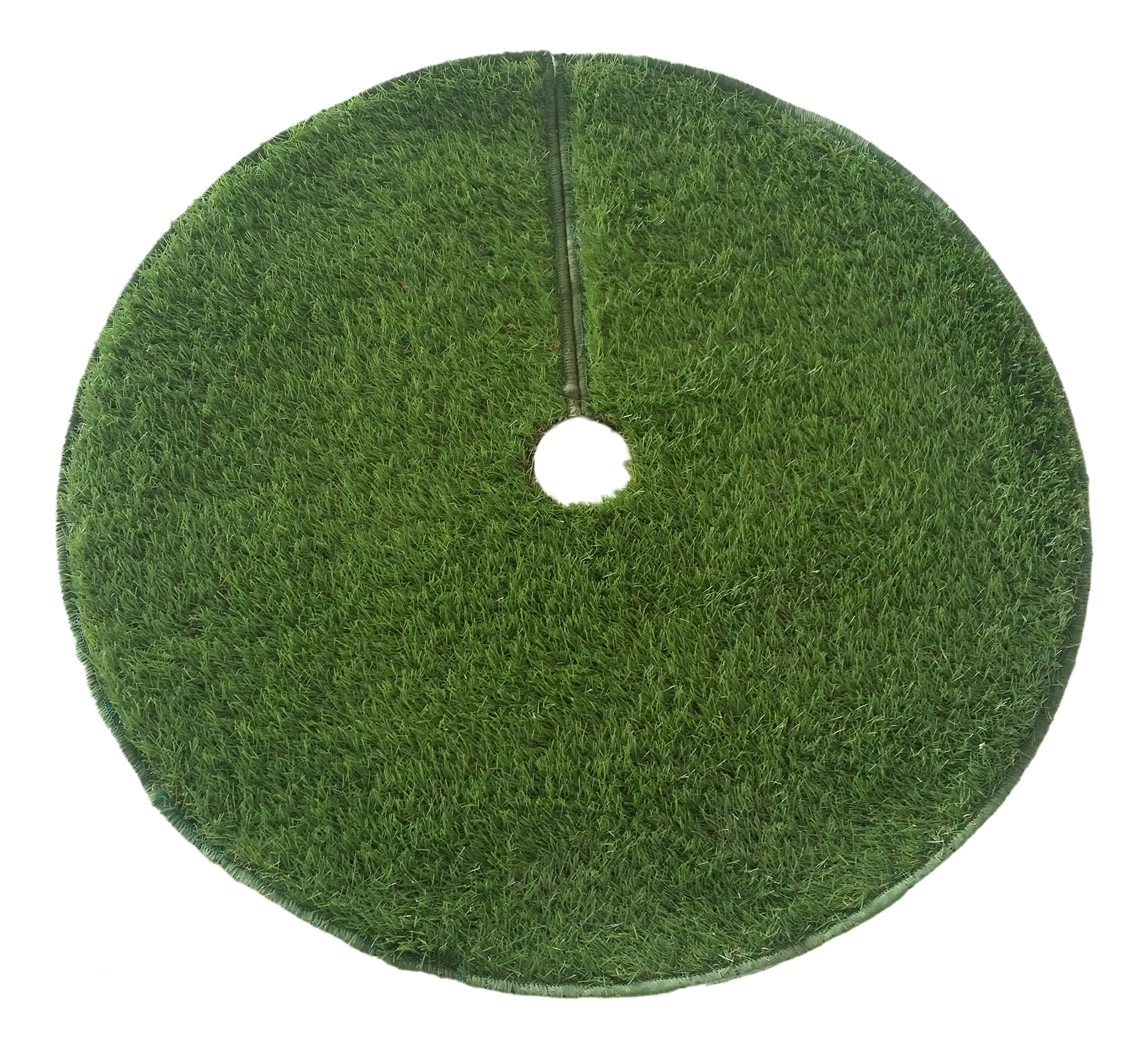 Zen Garden Artificial Grass Christmas Tree Skirt w/ Anti-Slip Rubber Base w/ Binding (48'' Dia) | Realistic Synthetic Grass Rug | Indoor & Outdoor Xmas Tree Skirts | Unique Holiday Decorations (Green)
