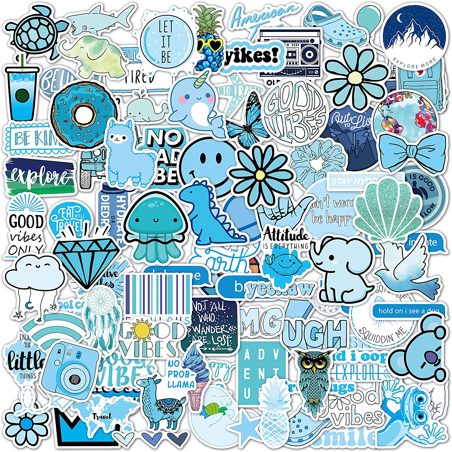 Vsco Stickers 100 Pack I Cute Blue Stickers Waterproof 100% Vinyl Stickers I Vsco Girls Stuff, Aesthetic Stickers, Vsco Stickers for Water Bottle, Laptop Stickers, Cellphone (100 Pack, Blue)