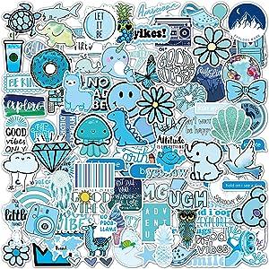 Vsco Stickers 100 Pack I Cute Blue Stickers Waterproof 100% Vinyl Stickers I Vsco Girls Stuff, Aesthetic Stickers, Vsco Stickers for Water Bottle, Laptop Stickers, Cellphone (100 Pack, Blue)