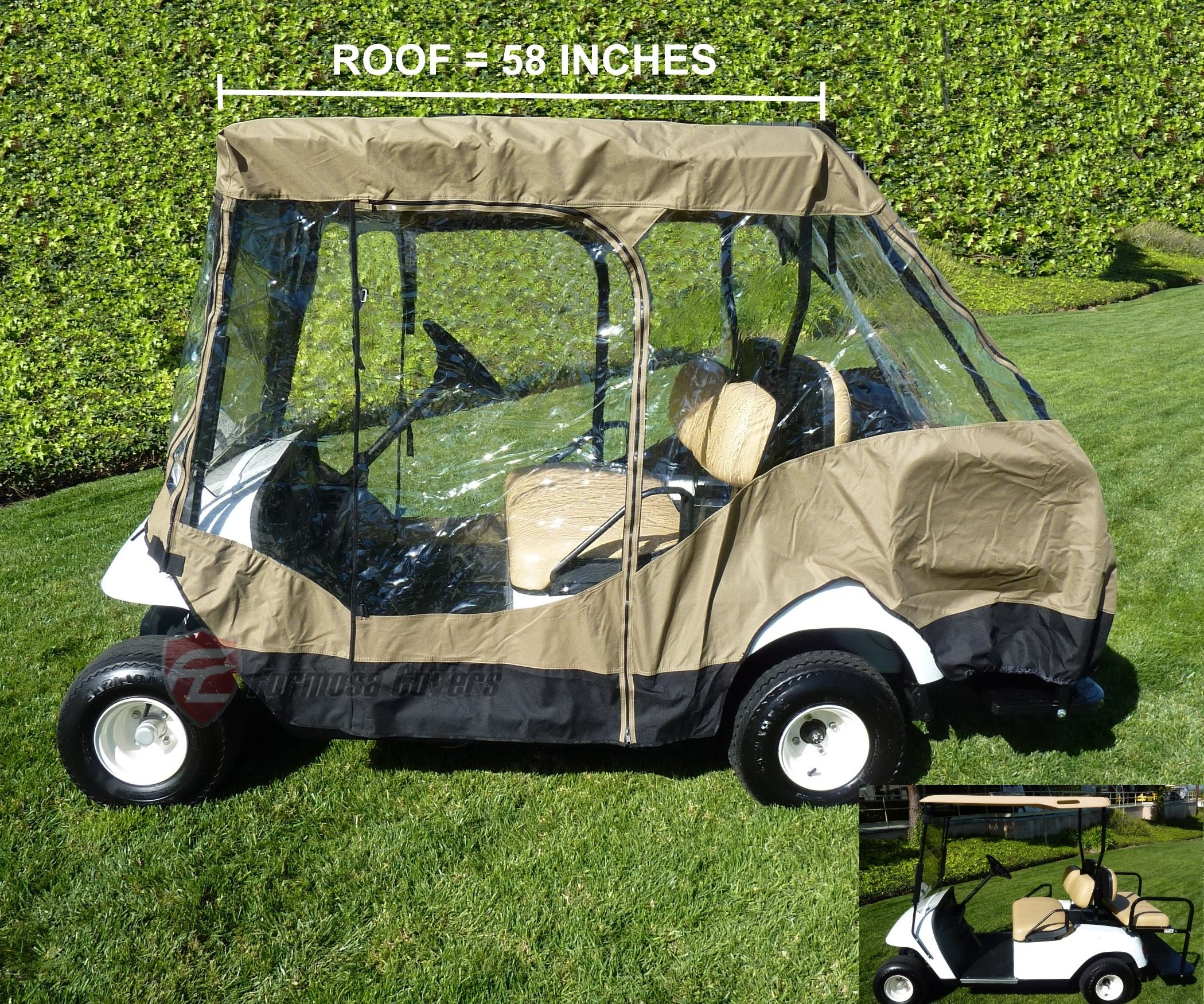 Premium Tight Weave Golf Cart Driving Enclosure for 4 seater with 2 seater roof up to 58'' by Formosa Covers (Image #4)