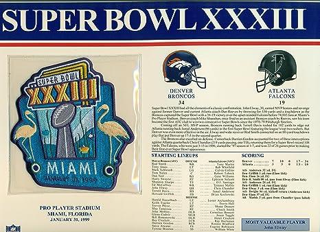 Cheap Super Bowl XXXIII 33 Official Patch Denver Broncos vs Atlanta  for sale