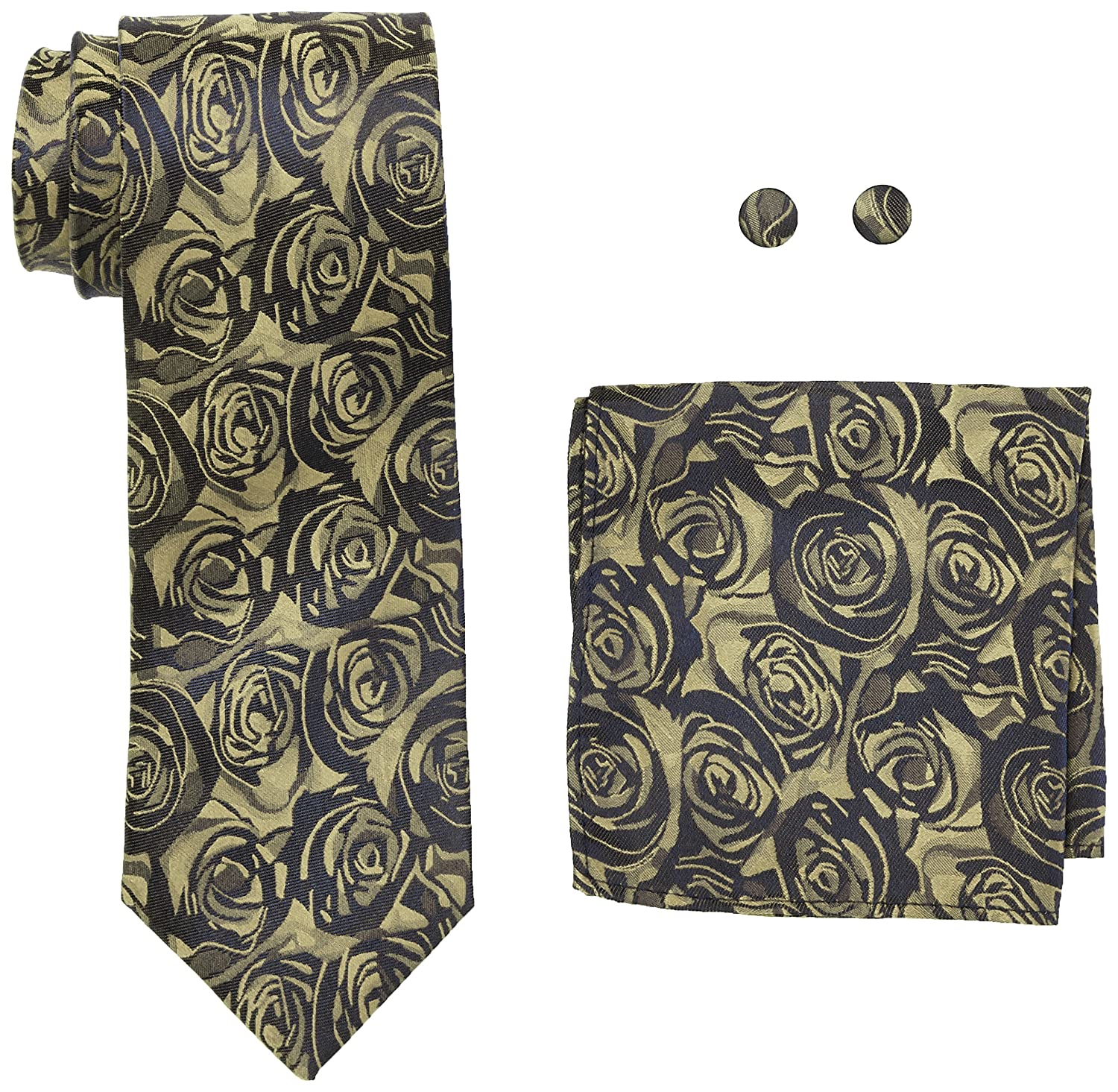 Landisun Stripes Mens Silk Necktie Set: Tie+Hanky+Cufflinks 15N Blue Yellow, 3.25Wx59L 3.25Wx59L 1815N-CA