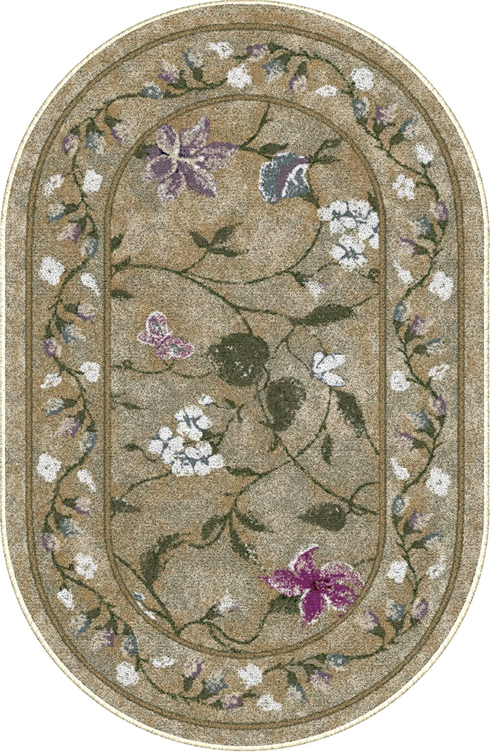 """Brumlow Mills Butterfly Floral Area Rug for Kitchen, Living Room or Home Accent Carpet, 20""""x34"""", Golden Green"""