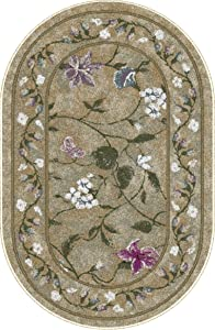 """Brumlow Mills Butterfly Floral Area Rug for Kitchen, Living Room or Home Accent Carpet, 30""""x46"""", Golden Green"""