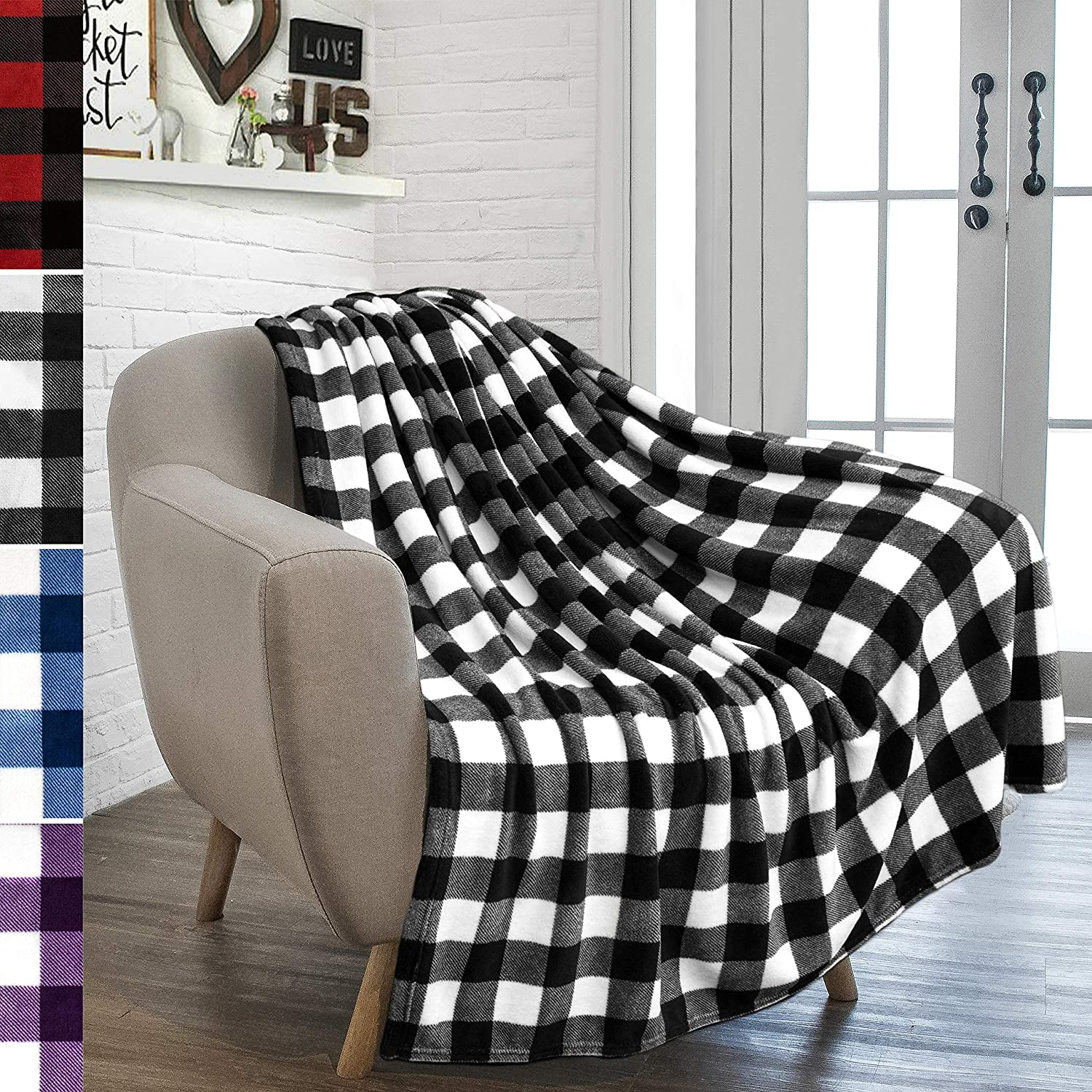PAVILIA Flannel Fleece Throw Blanket for Sofa Couch | Super Soft Velvet Plaid Pattern Checkered Decorative Throw | Warm Cozy Lightweight Microfiber | 50 x 60 Inches Plaid White/Black