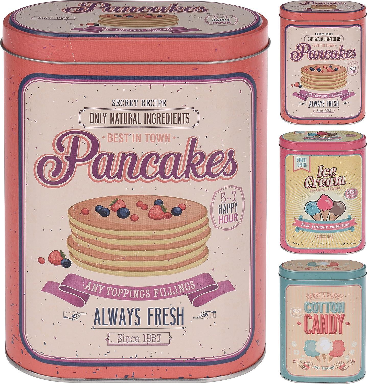 Set of 3 Vintage Nostalgic style Kitchen Tins in Ice Cream, Cotton Candy, Pancakes Designs Elyte Retail