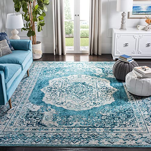 Safavieh Crystal Collection CRS519B Boho Chic Medallion Distressed Non-Shedding Stain Resistant Living Room Bedroom Area Rug