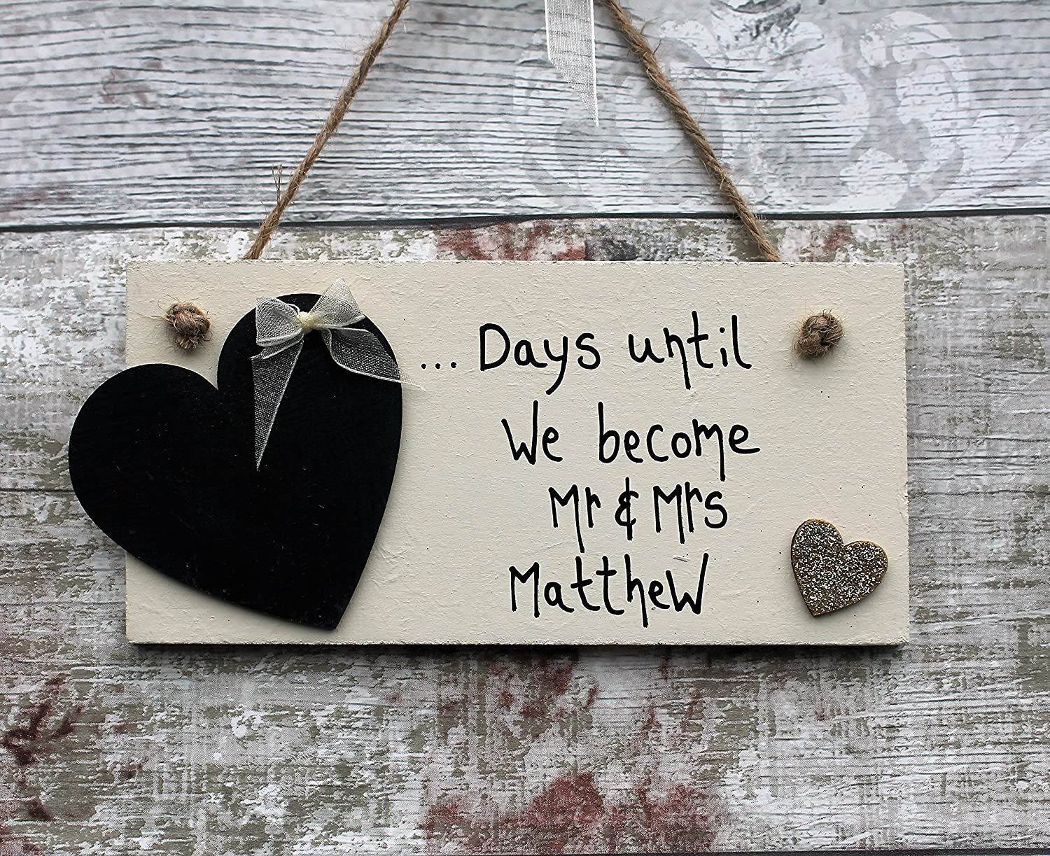 MadeAt94 Wedding Countdown Engagement Gift Plaque Sign Chalkboard with Glitter Golden Heart
