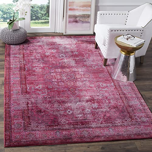 Safavieh Valencia Collection VAL127R Red and Multi Vintage Distressed Silky Polyester Area Rug 4 x 6