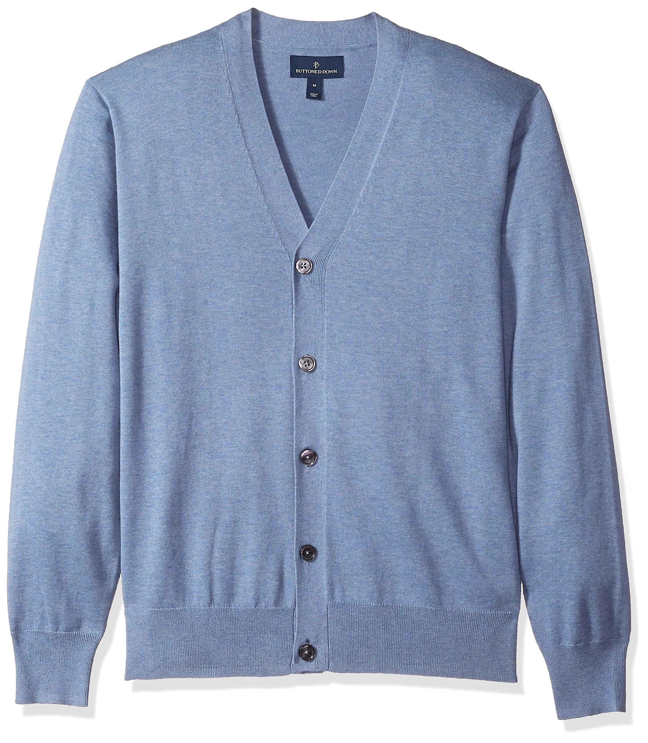 BUTTONED DOWN Men's Supima Cotton Lightweight Cardigan Sweater, blue, Medium