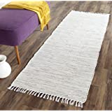 "Safavieh Montauk Collection MTK753A Handmade Flatweave Silver Cotton Runner (2'3"" x 6')"