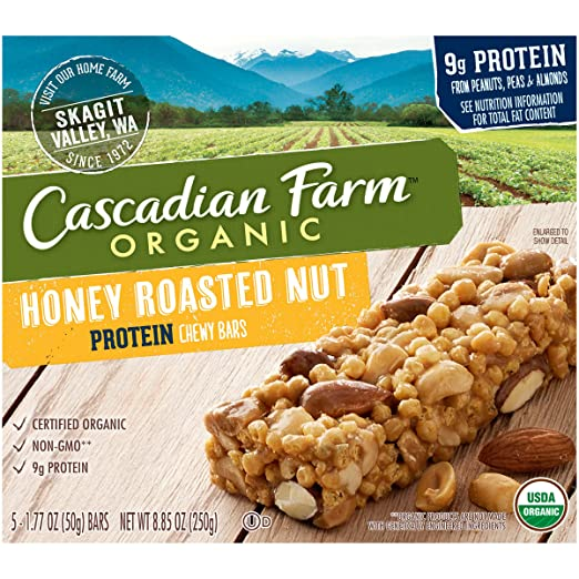 Cascadian Farm Organic non-GMO Protein Chewy Bar Honey Roasted Nut Bars 5-1.77 oz
