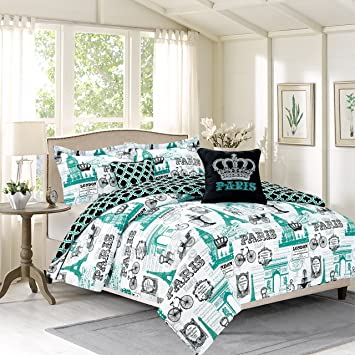 Bedding Queen 5 Piece Girls Comforter Bed Set, Paris Eiffel Tower London,  Teal Blue