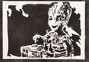 Póster Baby Groot Guardianes De La Galaxia Grafiti Hecho A Mano - Handmade Street Art - Artwork