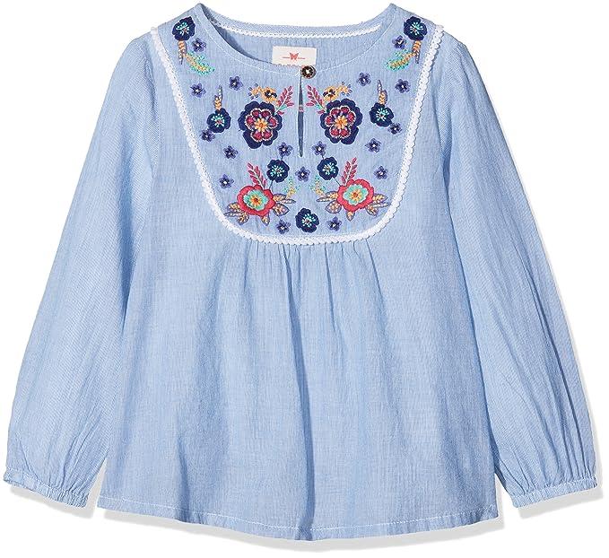 Fat Face MERA Stripe Embroidered, Blusa para Niñas, Azul (Chambray), 10