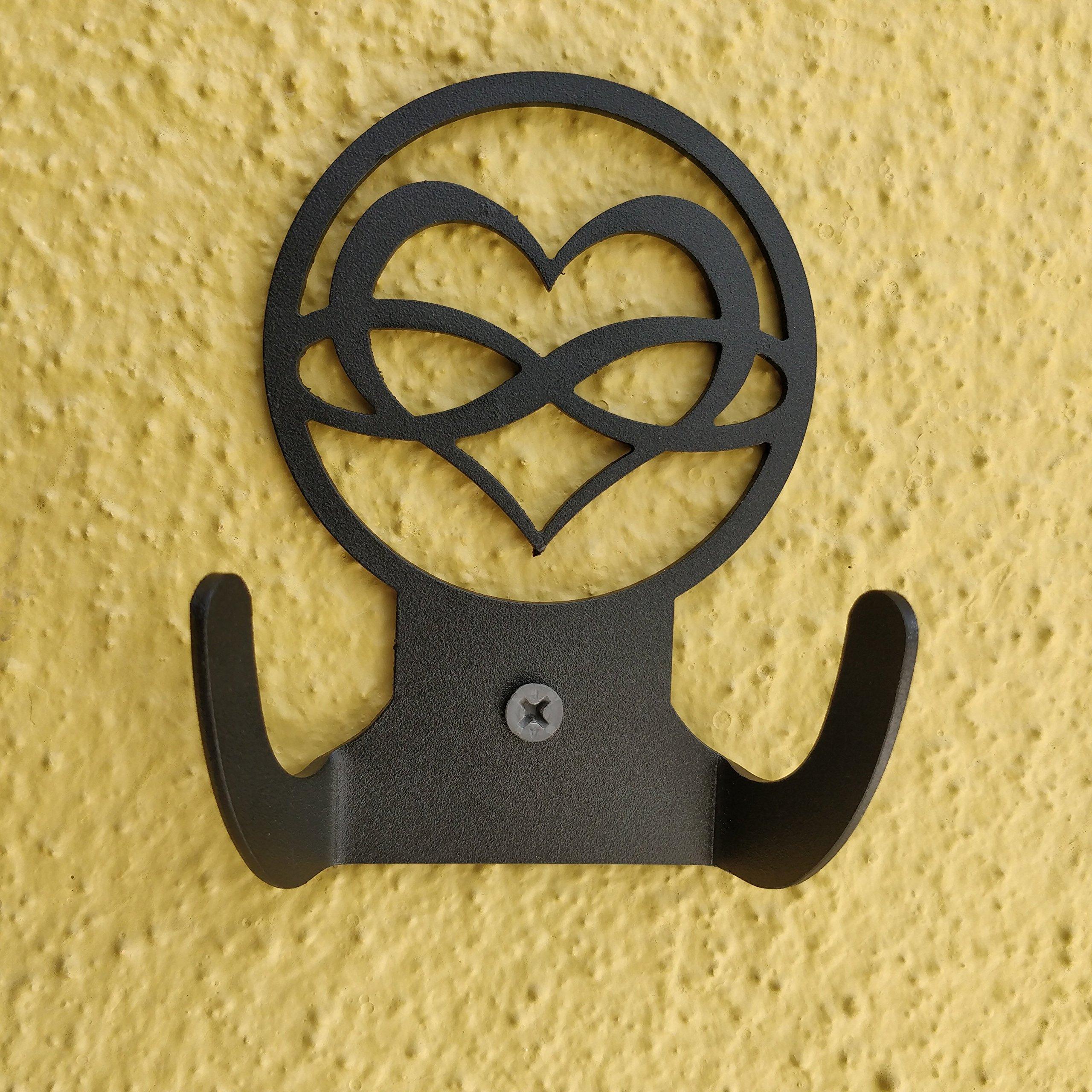 HeavenlyKraft Love Infinity Logo Steel Wall Hook Dual Holder for Living Room Coat Hat Robe Hanger Bathroom Towel Kitchen Strong Heavy Duty Garage Storage Organizer Utensil Hook Single