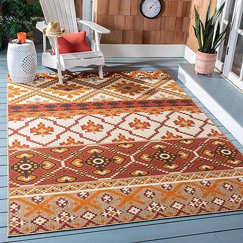 Safavieh Veranda Collection VER097-0334 Indoor Outdoor Area Rug, 9 x 12 , Red Beige