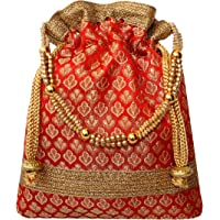 Milan's Creation Rich Brocade with Golden Lace Ethnic Drawstring Potli Bag for Women (Red)