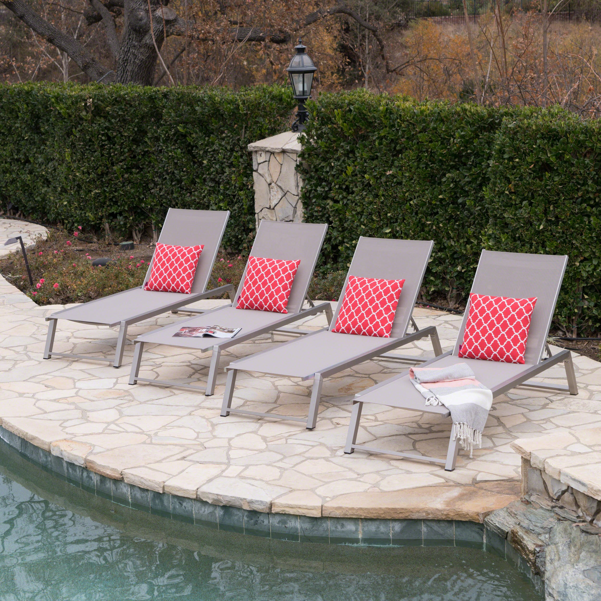 Great Deal Furniture Santa Monica Outdoor Grey Mesh Chaise Lounge with Grey Finished Aluminum Frame (Set of 4)