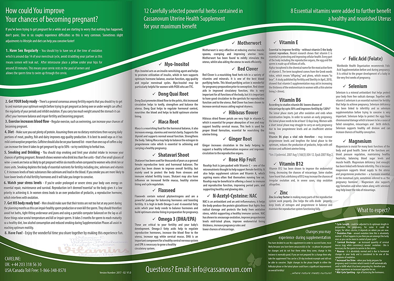 Cassanovum Uterine Health – Female Fertility Supplement –Vegan Essential  Prenatal Vitamins for